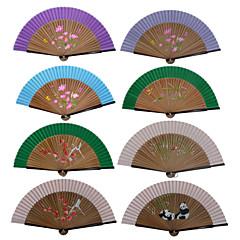 Zahradní motiv / Květinový motiv-Skládaný vějíř / Skládaný vějíř ve tvaru mušle / Klasický vějíř-Hedvábí-Bambus-Ruční ventilátor(Růžová /