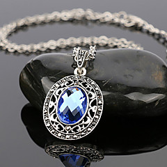 Women's Luxury Style Oval Multi-Slice Gem Alloy Diamond Pendant Necklace