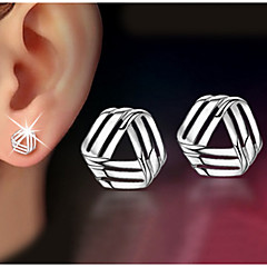 S925 Fine Silver Triangle Stud Earrings