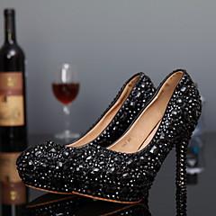 Women's Spring / Summer / Fall / Winter Heels Leather Wedding / Party & Evening Stiletto Heel Crystal Black