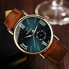 YAZOLE Herren Armbanduhr Quartz Leder Band Bequem Braun Weiß Schwarz Blau Dunkelgrün