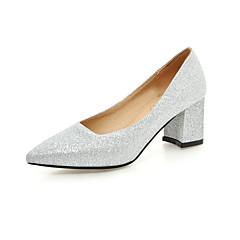 Sort / Rød / Sølv / Guld - Tyk hæl - Kvinders Sko - Hæle / Spids tå - Kunstlæder - Bryllup / Formelt - høje hæle