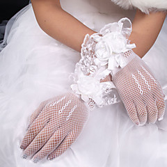 White Lace Elastic Silk Flower Shape Tulle Fingertips Wrist Length Bridal Gloves for Wedding Party