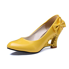 Women's Shoes Leatherette Wedge Heel Heels Heels Wedding / Office & Career / Party & Evening / Dress Black / Yellow