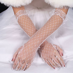 lady'S White Lace Elastic Silk Flower Shape Tulle Fingertips Elbow Length Bridal Gloves for Wedding Party