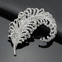 Women's Silver AAA Zircon Crystal Leaf Brooch & Pins for Wedding Party Jewelry
