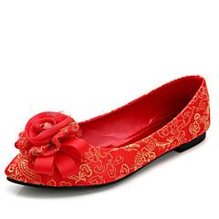 Women's Wedding Shoes Ballerina / Round Toe / Closed Toe Heels Wedding Red