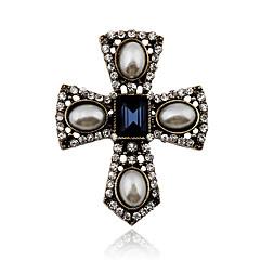 Dame Krystal Perle Imiteret Perle Rhinsten Legering Vintage Victoriansk erklæring smykker Krydsformet Smykker Fest Daglig Afslappet