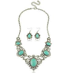 סט תכשיטים לנשים יום שנה / מתנה / מסיבה / יומי סטי תכשיטים סגסוגת טורקיז שרשראות / עגילים כסף / כחול