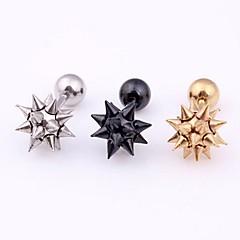Κουμπωτά Σκουλαρίκια Ανοξείδωτο Ατσάλι Διπλής όψης Πανκ Στυλ Μαύρο Ασημί Χρυσαφί Κοσμήματα Καθημερινά Causal Αθλητικά 1 ζευγάρι