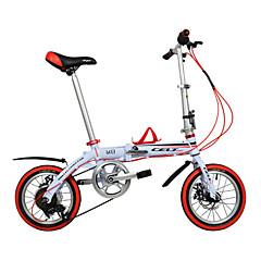Folding Bikes Lasten Bikes Pyöräily 6 Speed 14 tuumainen Shimono Tuplalevyjarru Tavallinen Alumiiniseosrunko Taiteltava