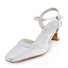 סנדלים-נשים-נעלי חתונה-עקבים / מרובע-חתונה / שמלה / מסיבה וערב-שנהב / לבן / כסוף