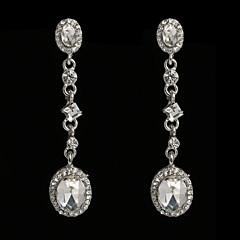Vintage Women's  Earrings Crystal Diamond  Silver Earring For Wedding Bridal
