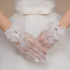 Wrist Length Fingertips Glove Tulle Bridal Gloves Party/ Evening Gloves Sequins Bow Rhinestone lace