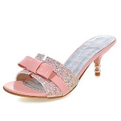 샌달-웨딩 / 드레스 / 파티/이브닝-여성의 신발-힐 / 토오픈 / 슬리퍼-에나멜 가죽 / 글리터-낮은 굽-블랙 / 핑크 / 화이트