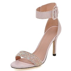 Women's Shoes Glitter Stiletto Heel Heels / Ankle Strap Sandals Wedding / Party & Evening / Dress Pink / White / Gray