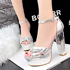 Women's Shoes AmiGirl 2016 Wedding/Party/Dress Silver/Gold/Black/Red/Orange Chunky Heel Sexy LeatherSandals