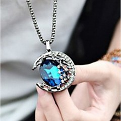 Gem Moon Curved Long Necklace Fashionable Restore Ancient Ways The City Moonlight Long Women Sweater Chain
