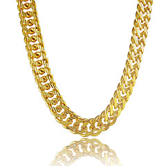 Men's Chain Necklaces Circle Line Platinum Plated Gold Plated Gold Filled Alloy Personalized Golden Jewelry ForGift Daily Casual Sports