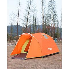 Makino 3-4人 テント トリプル 1つのルーム キャンプテント 2000-3000 mm ナイロン ポリエステル 防水 通気性 防雨 防塵 抗虫 防風性 静電気防止 保温-ハイキング キャンピング ビーチ 釣り 旅行 屋外 屋内-オレンジ