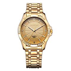 CHENXI® גברים שעוני שמלה שעוני אופנה שעון יד יהלוםSimulated שעון Japanese קווארץ חיקוי יהלום מתכת אל חלד להקה יוקרתי זהב