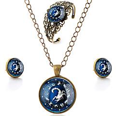 Lureme® Time Gem The Zodiac Series Vintage Scorpio Pendant Necklace Stud Earrings Hollow Flower Bangle Jewelry Sets