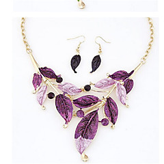 Bohemian Simple Painting Foliage Leaves Necklace Earrings Set