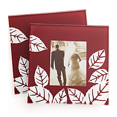 Fall in Love Leaf Photo Glass Coaster Wedding Tea Party Souvenirs (1pcs)