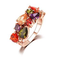 Women's Gold Korean Cubic Zirconia Multicolored Rhinestone Luxury Ring