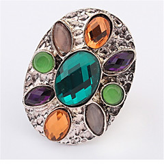 Bohemia Colorful Oval Gemstone Crystal Fashion Ring(Random Color)