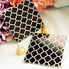 """Timeless Traditions"" Elegant Black & White Glass Coasters"