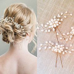 Perle Kristall Kopfschmuck-Hochzeit Besondere Anlässe Haarkämme Haar-Stock 2 Stück