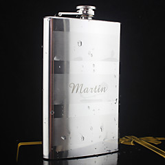 Personalized Stainless Steel 10-oz Silver Hip Flasks