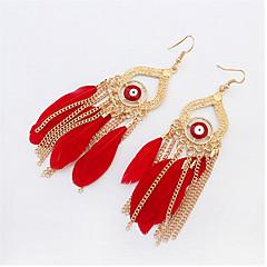 Stylish Atmosphere Chain Feather Tassel Earrings