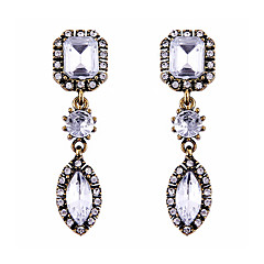 Trend Nifty Pure Color Diamond Court Crystal Long Section Earrings