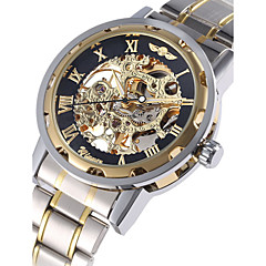 WINNER Herren Armbanduhr Mechanische Uhr Automatikaufzug Transparentes Ziffernblatt Edelstahl Band Luxuriös Silber Golden