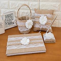 satt av fire lin bryllup samling satt med blonder og bånd (gjestebok, blyant, ring pute, blomst kurv)