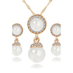 Popula Eyes of Angels Opal Water Droplets Pendant Earrings + White Gemstone Earrings Jewelry Sets