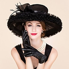 Women's Feather / Organza Headpiece-Wedding / Special Occasion / Casual Fascinators / Hats 1 Piece Black Round 57