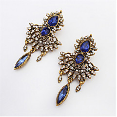 Sapphire Stone Diamond Pendant Earrings Diamond Earrings Exaggerated Hollow Water Droplets