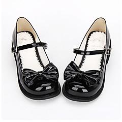 Sapatos Doce / Lolita Clássica e Tradicional Princesa Salto Raso Sapatos Laço 2.5 CM Preto Para Feminino Couro PU/Couro de Poliuretano