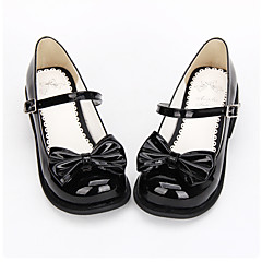 Lolita Shoes Sweet Lolita / Classic/Traditional Lolita Princess Flat Heel Shoes Bowknot 2.5 CM Black For WomenPU Leather/Polyurethane