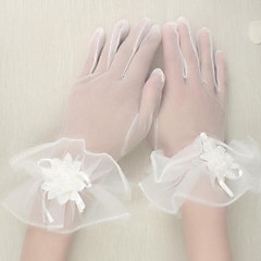 Wrist Length Fingertips Glove Tulle Bridal Gloves / Party/ Evening Gloves Spring / Summer / Fall White Floral