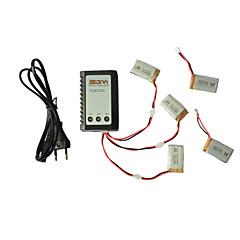 Сыма x5c / x5c-1 землепроходцы части x5c-11 3.7v 650mAh липо батареи 3 в 1 кабельной линии х 5 шт ж / b3 зарядное устройство