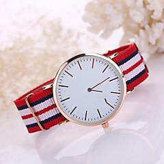Herren Damen Modeuhr Armbanduhren für den Alltag Quartz Stoff Band Schwarz Weiß Blau Rot