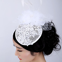 Women's Lace / Feather / Rhinestone / Tulle Headpiece-Wedding / Special Occasion / Casual / Outdoor Fascinators 1 Piece
