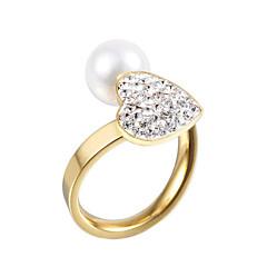 バンドリング 真珠 模造ダイヤモンド ダブルレイヤー クロスオーバー ファッション 調整可能 愛らしいです 誕生石です. シルバー ゴールデン ジュエリー 結婚式 パーティー 日常 カジュアル 1個
