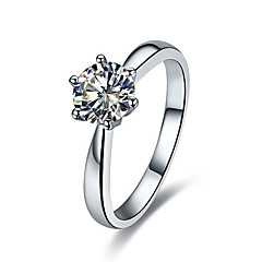 Korean Fashion 1CT Solitaire Engagement Ring Prongs Setting Diamond Ring for Women Sterling Silver Platinum Plated