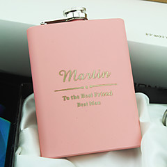 Personalized Stainless Steel 8-oz Pink Hip Flasks