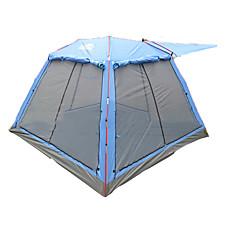 / 3-4 사람 텐트 더블 베이스 가족 캠프 텐트 투 룸 캠핑 텐트 2000-3000 mm 유리 섬유 폴리에스터 옥스퍼드 호흡 능력 자외선 저항력 통풍 잘되는 대형-캠핑 여행 수렵 야외-블루